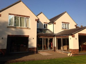 Completed rendering project following an extension in Leamington Spa